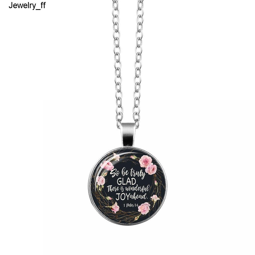 Bible Verse Art Glass купольного ожерелье писание Quote ювелирных изделия Christian Женщина Мужчины Фавор Christian подарки