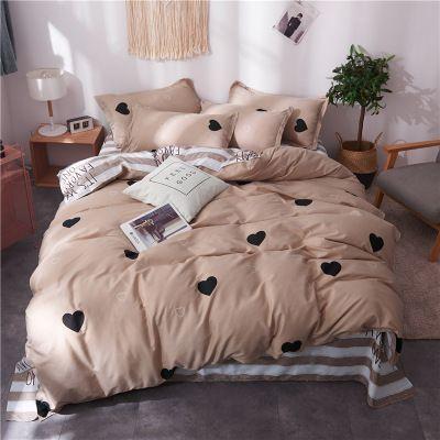 4PCS Fashion Home Textile Bedding Sets Soft Heart Stripe Duvet Cover Pillowcase Sheet Teen Adult Woman Bed Linen For Gift