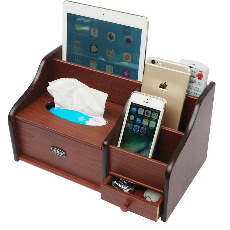 나무 티슈 상자 중국어 다기능 홈 거실 간단한 커피 테이블 데스크탑 원격 제어 냅킨 저장 WF726235