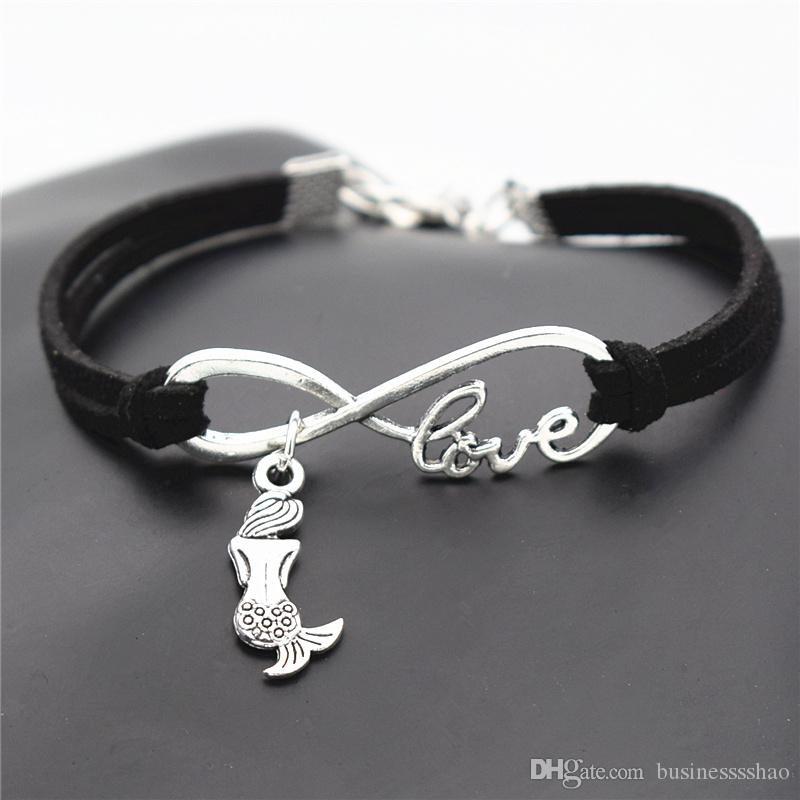 Infinity Love Elegant Little Mermaid Female Male Black Leather Suede Bracelet Women Men Braided Rope Wrap Bangles Pulseira Masculina Jewelry