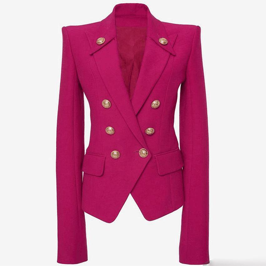Butones de cuello de mujer Blazer más reciente de alta calidad Botones de metal de doble pecho blazer Blazer Outer Wear Blazers