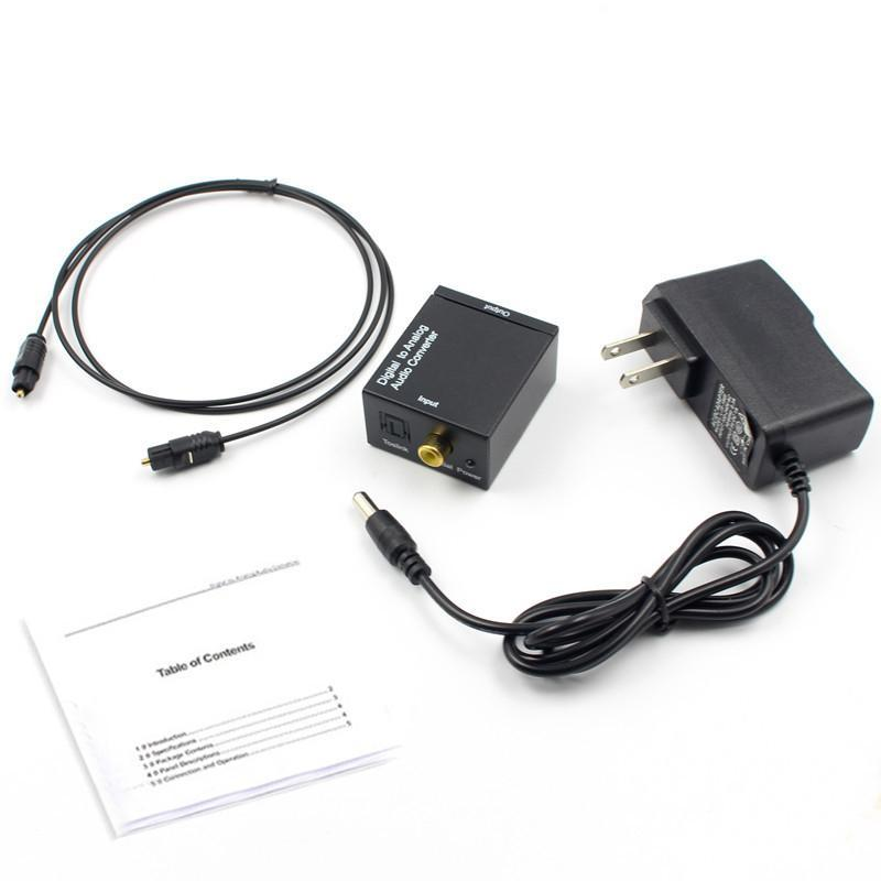 Digital para Adaptador Analog Audio Converter Digital Óptica coaxial RCA Toslink sinal para analógico Audio Converter RCA