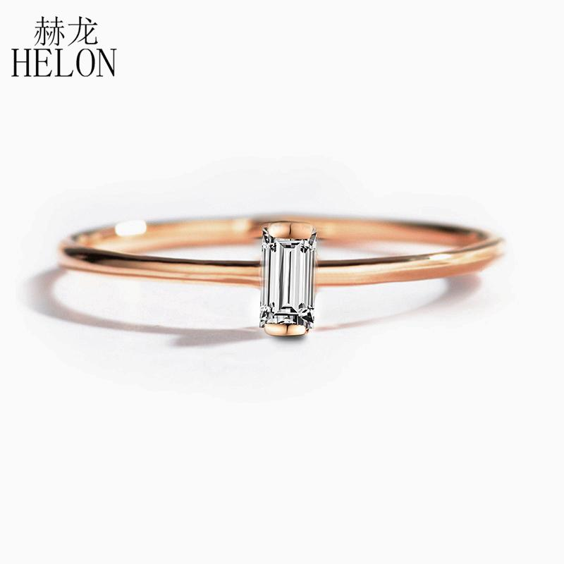 Helon sólidos 14K Rose Gold 0.05CT Baguette Cut SI / H 100% genuínos diamantes naturais anel de noivado Mulheres Trendy Fine Jewelry