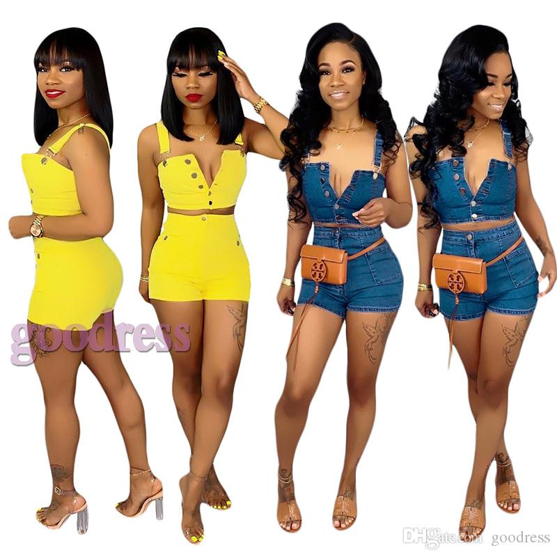 Women Sexy Denim 2 Two Piece Outfits Set Summer Spaghetti Strap Crop Tops Jeans Shorts Bodycon Tracksuit Sleeveless short Sling vest clothes