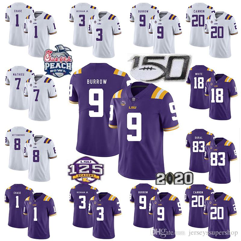 2019 NCAA LSU Tigers Jersey 9 Joe Burrow 3 Odell Beckham Jr. 20 Billy Cannon 7 Grant-Delpit 1 Chase Fußball Jersey 125TH