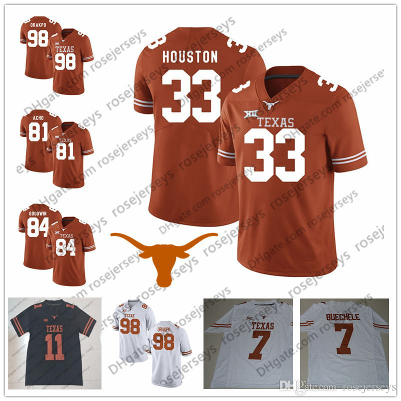Texas Longhorns # 3 Hicks 13 Michael Dickson 18 Tyrone Swoopes 25 Jamaal Charles 33 Lamarr Houston Orange Branco Preto Remate Futebol Jersey