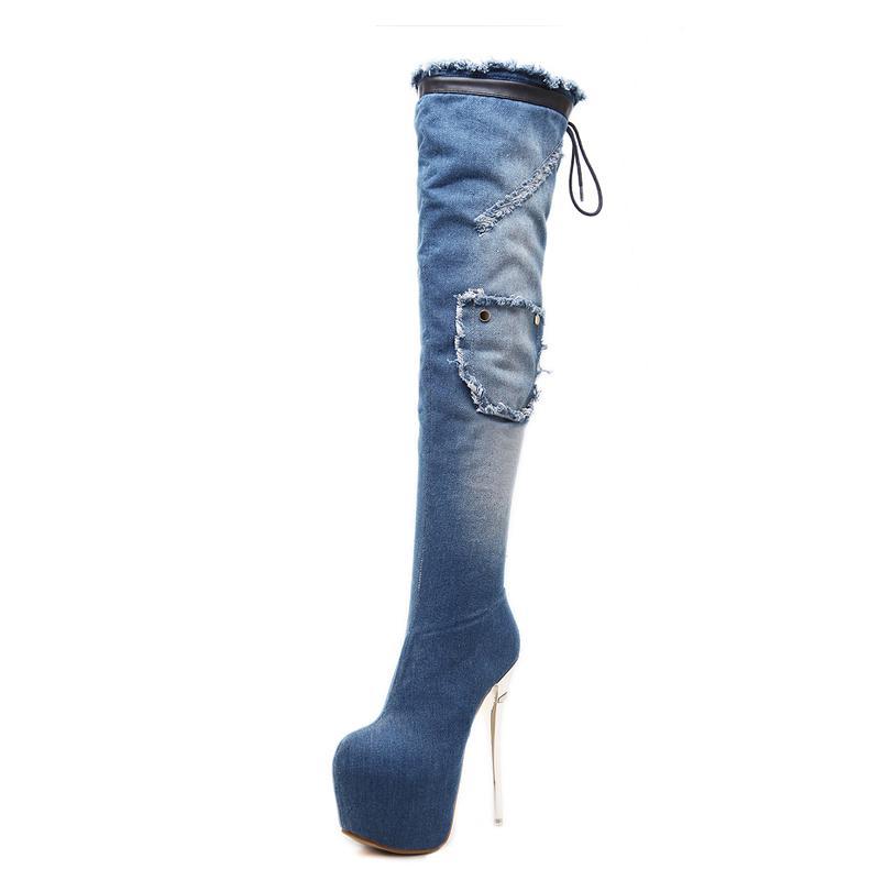 Sıcak Satış-diz yüksek çizmeler botas mujer kadınları Kış ayakkabı Yüksek Topuklar kürklü botlar giyilen kadın kürk kar ayakkabıları YMA959 largas