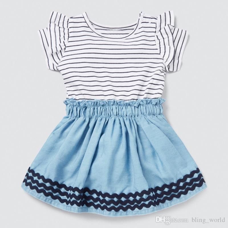 Kids Designer Clothes Girls Striped Princess Dress Color Matching Girls Dresses Short Sleeve Children Outfits Boutique Kids Clothing YW3465