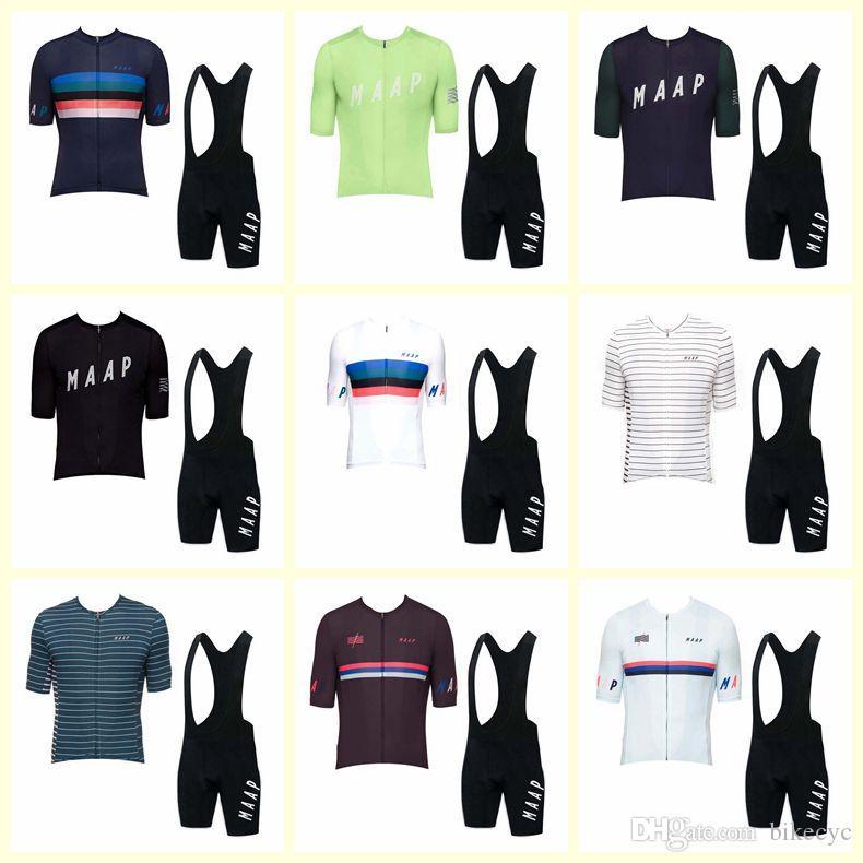 Maap Takımı Bisiklet Kısa Kollu Jersey Önlüğü Şort Setleri Yaz erkek Bisiklet Giysileri Ropa Ciclismo Bisiklet Giyim U123106