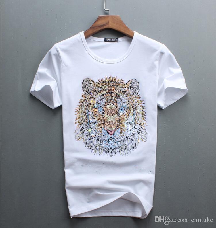 Toptan lüks elmas tasarım Tshirt moda t-shirt erkekler komik t shirt marka pamuk tops 02