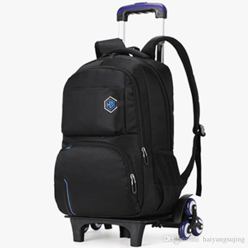 Orta okul öğrenci arabası okul çantası 2/6 tekerlek seyahat Bagaj rahat schoolbag çocuk ayrılabilir su geçirmez sırt çantası bavul çanta