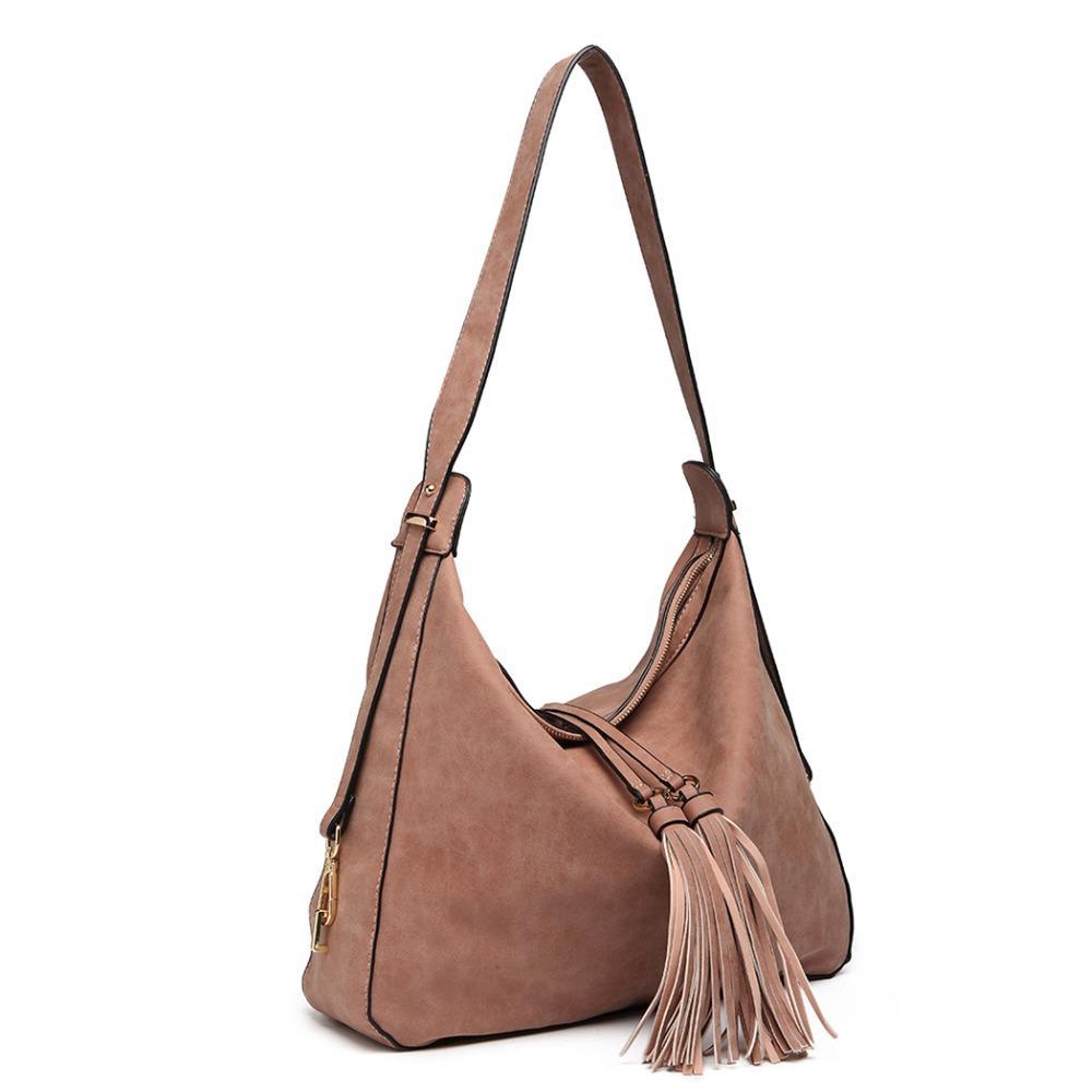 EAD1 New Lady Women Hobo Large Leather Shoulder Bag Purse Satchel Tassel Handbag