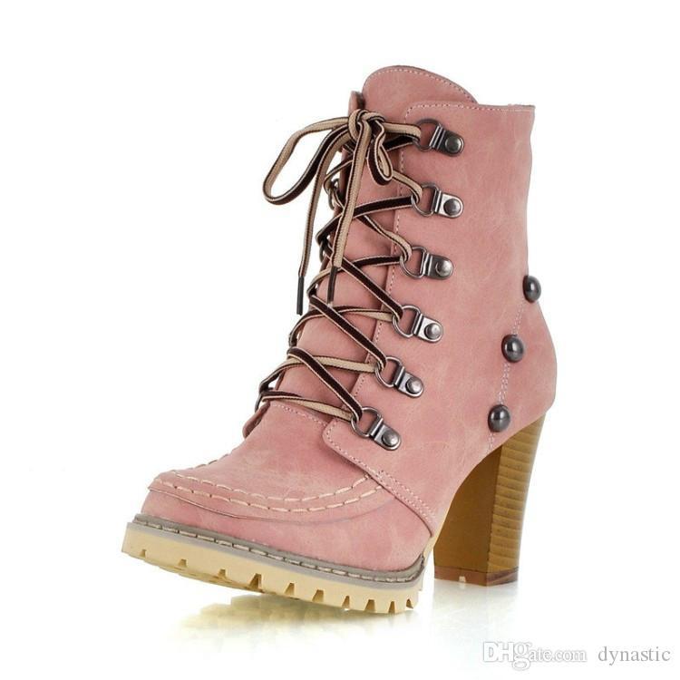 Qulity Bottines pour femmes Brun Rose Vert Bottes de femmes Chaussures Femmes bout rond Automne Bottes hiver