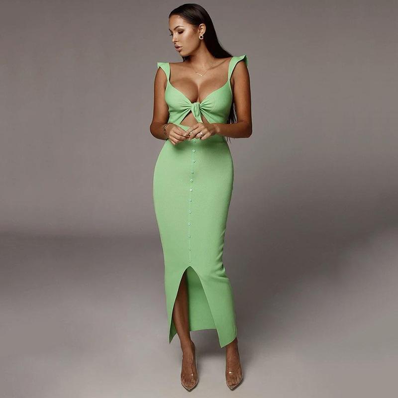 Sıcak Sonbahar Yeni Moda Bayan Giyim Göğüs Pit Slim-Fit Elbise Bağlama