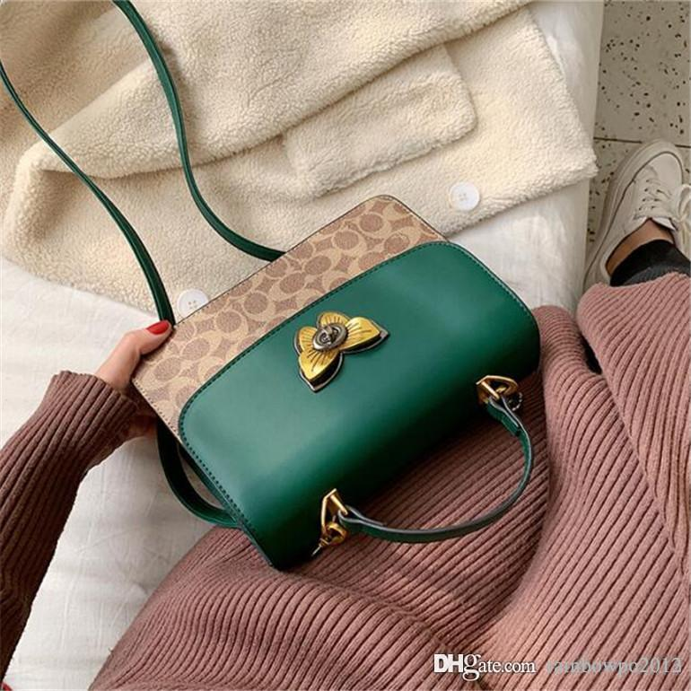 Factory wholesale women Handbag New Butterfly lock women shoulder bag high quality contrast leather handbag printed leather fashion bag