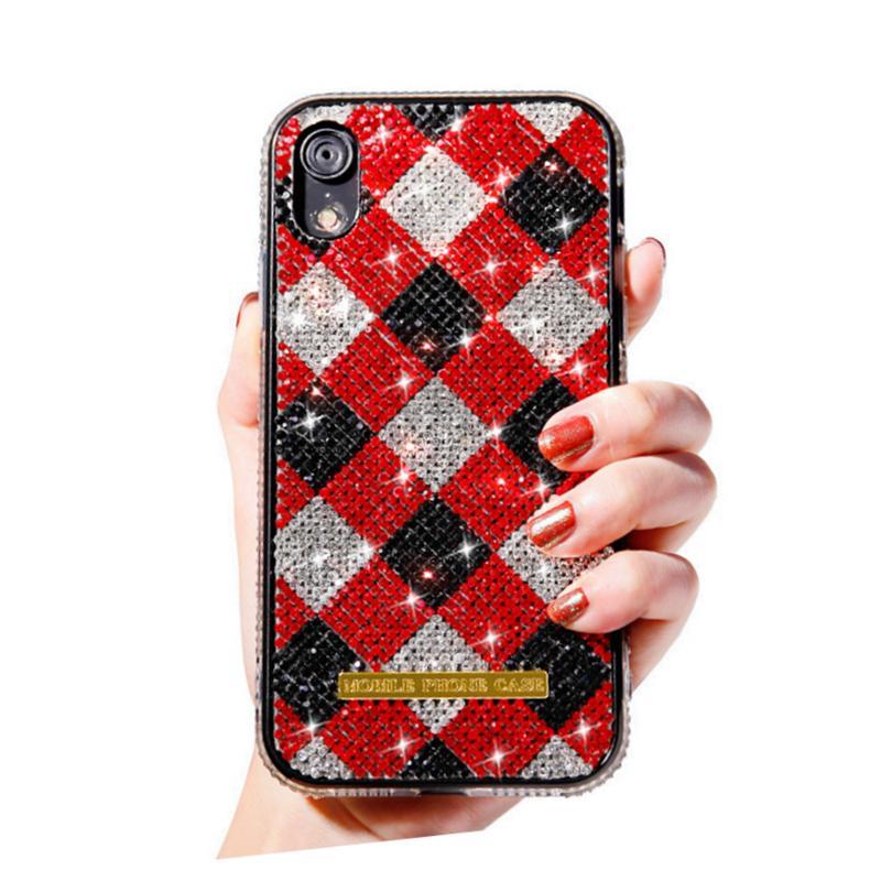 Neue Premium-bling bling Luxuxdiamanten Strass Glitzer-Telefon-Kasten für iPhone 11 pro x xr xs max 8 7 6 und Tartanmuster Abdeckung harter Fall