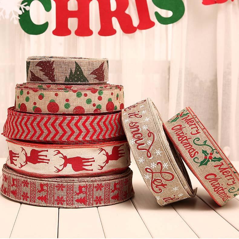 삼베 리본 크리스마스 장식 2M PCS 웨이브 도트 프린트 리본 크리스마스 트리 장식 선물 상자 나비 매듭 리본 크리스마스 장식