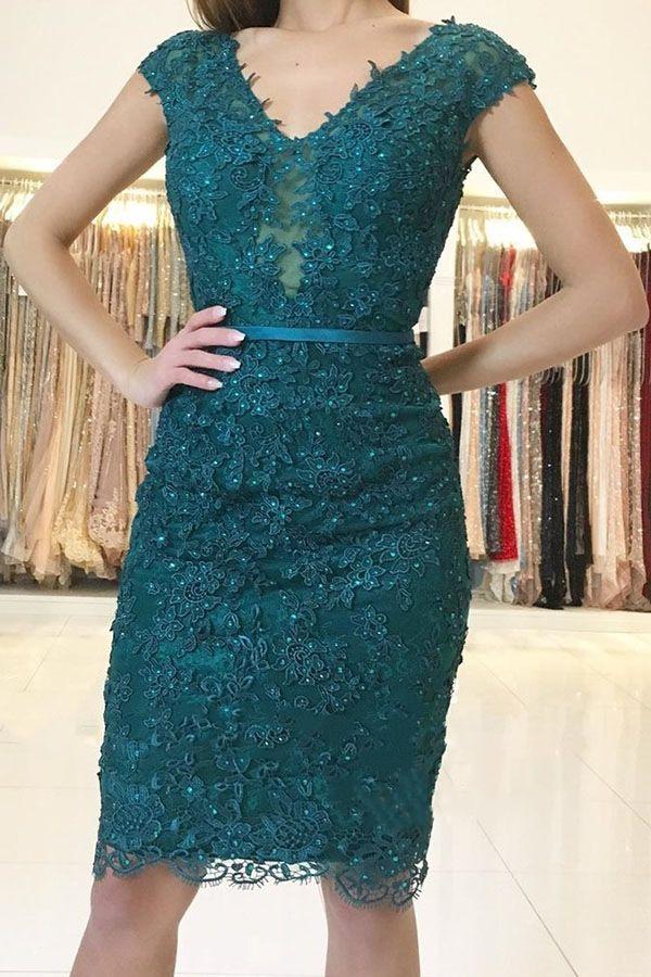 Compre Vestidos Cortos De Fiesta Elegantes Apliques De Encaje Verdes Vestido De Noche Con Cuello En V De Manga Corta Vestidos De Fiesta De Cóctel