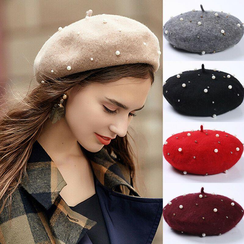 Vintage Wool Perle Beret Cap-Frauen-Hut Herbst-Winter-warmer Perlenstickerei Baret Caps Boina elegante weibliche Damen Feste Painter Hüte