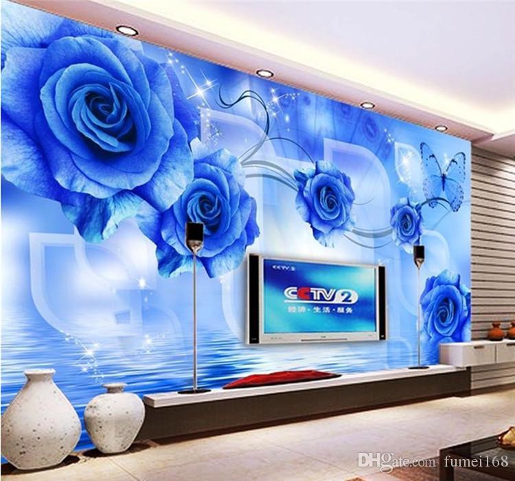 Пользовательского размер Современная простой большой фрески гостиная спальня не - тканый обои 3d TV фоне обои синие розы