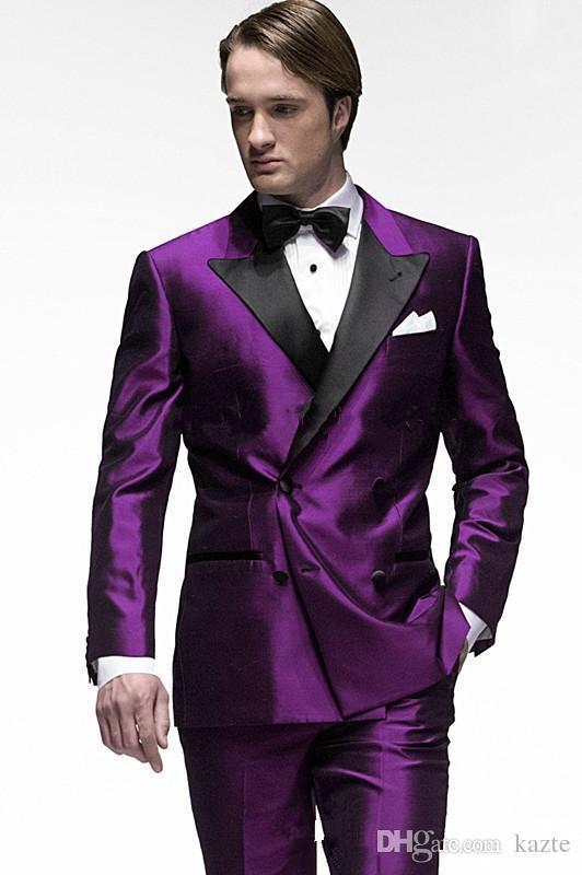 موضة جديدة بيربل العريس البدلات الرسمية رفقاء العريس ارتداء الأعمال الممتازة رجال الأعمال البدلة حفلة موسيقية البدلة (jacket + pants + bows tie)
