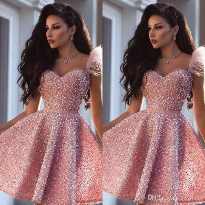 2020 Modern Sexy Pink Cocktail Dress Arabic Dubai Style Knee Length Short Formal Club Wear Homecoming Prom Party Gown Plus Size