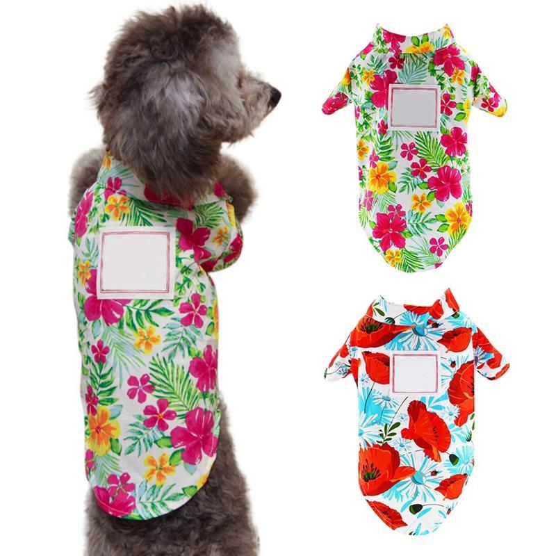 Cão bonito do verão impressão de roupa Havaí Camisetas Dog Cat Praia Casual Pet Travel shirt fresco respirável manga curta filhote de cachorro Blusa gato