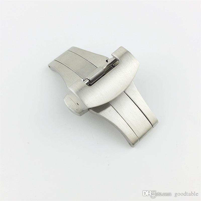 Feste Edelstahl-Uhrenarmbänder aus gebürstetem Edelstahl 22mm Doppel-Goodtable-Druckknopffalte Butterfly-Einsatz-Uhrenarmbänder Schnallenverschluss für Logo