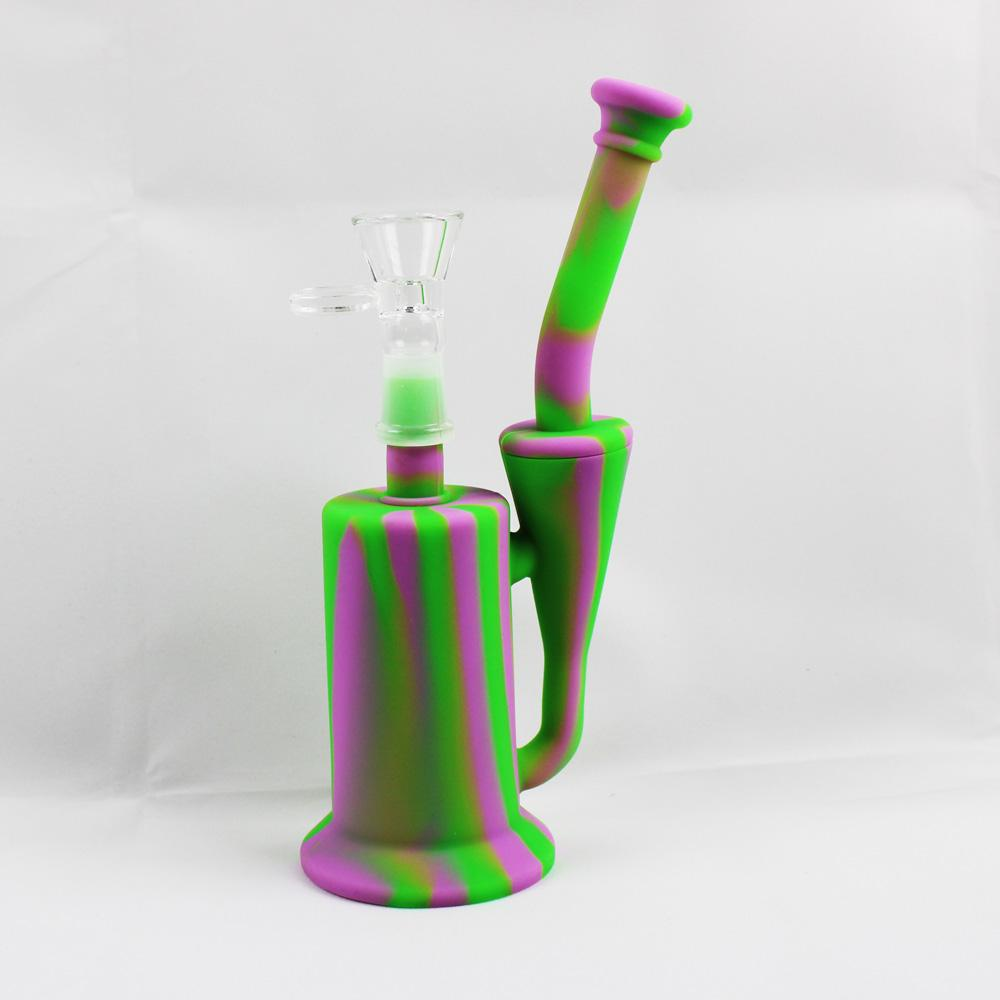 "Silikon-Glas-Recycler Bong 8"" tragbare Mini-Reise Wachs-Öl-Konzentrat Trockenkräuter Klekse Tabak Rauchen Wasser Bubbler Rohre mit Blumen-Bowl"