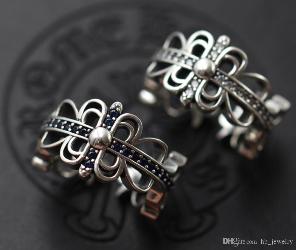 925 стерлингового серебра Алмазные кольца тенденция личности ювелирных панк стиль мужчины и женщины Lovers подарок хип-хоп крест роскошь дизайнер ювелирных изделий