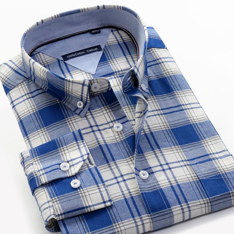 SHANBAO suave de alta calidad 100% camisa de algodón de otoño 2019 de los nuevos hombres jóvenes de negocios casual a cuadros de manga larga camisa de gran tamaño