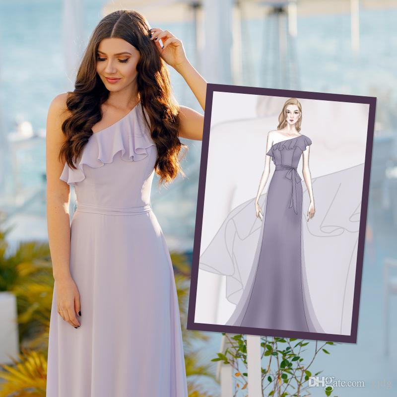 4 색 명예 등이없는 나라 비치 롱 파티 드레스 중 하나 어깨 들러리 드레스 새로운 저렴한 A 라인 층 길이 쉬폰 웨딩 메이드