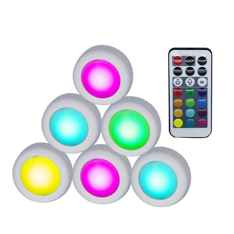 Sans fil LED Rondelle Lumières RGB 12 Couleurs Dimmable Touch Sensor led sous Cabinet Lumière Pour Fermer Garde-Robe Escalier Couloir Nuit lampe