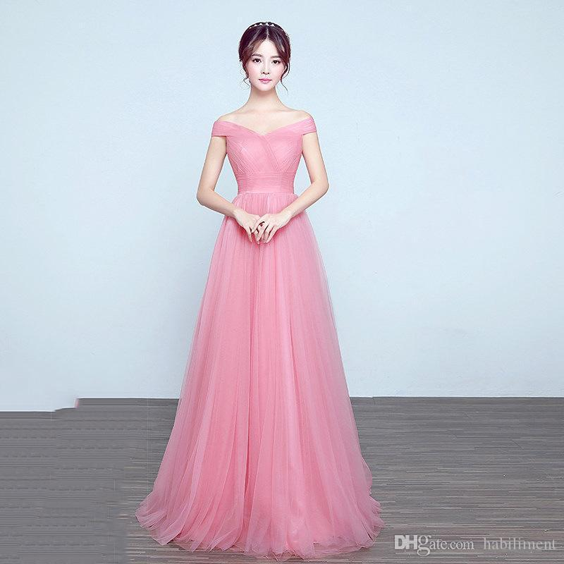 Wholesale 2018 Boat Neck Long Term Women Clothes Sexy Gauze Fabric Bride Toast Ceremonial Robe Casual Dresses New Style Designer Dress