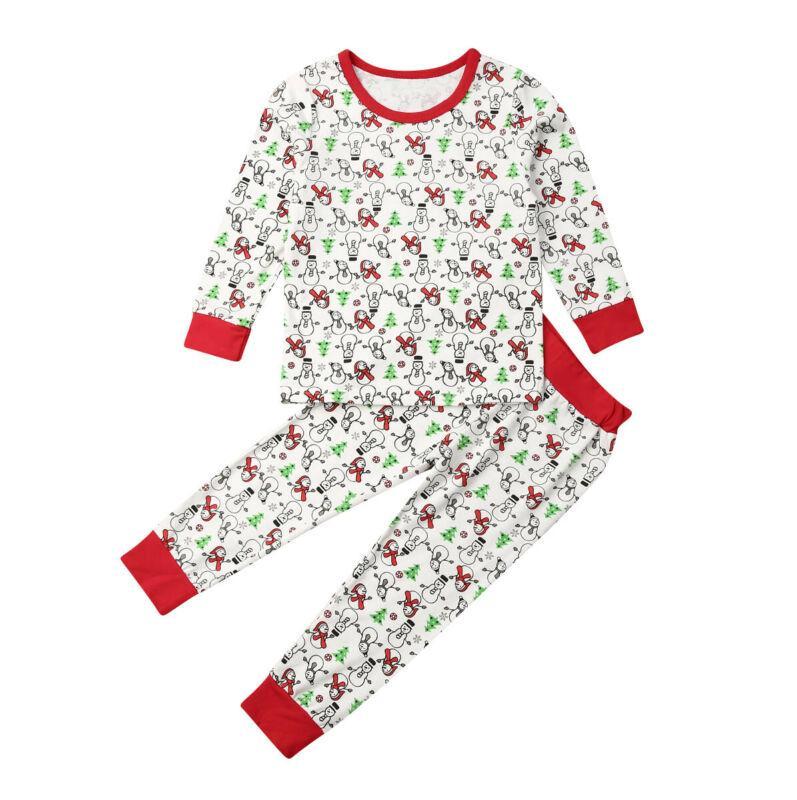 크리스마스 아기 소녀 소년 Sleepswear 파자마 눈사람 긴 소매 긴 바지 레깅스 수면 세트 탑 설정