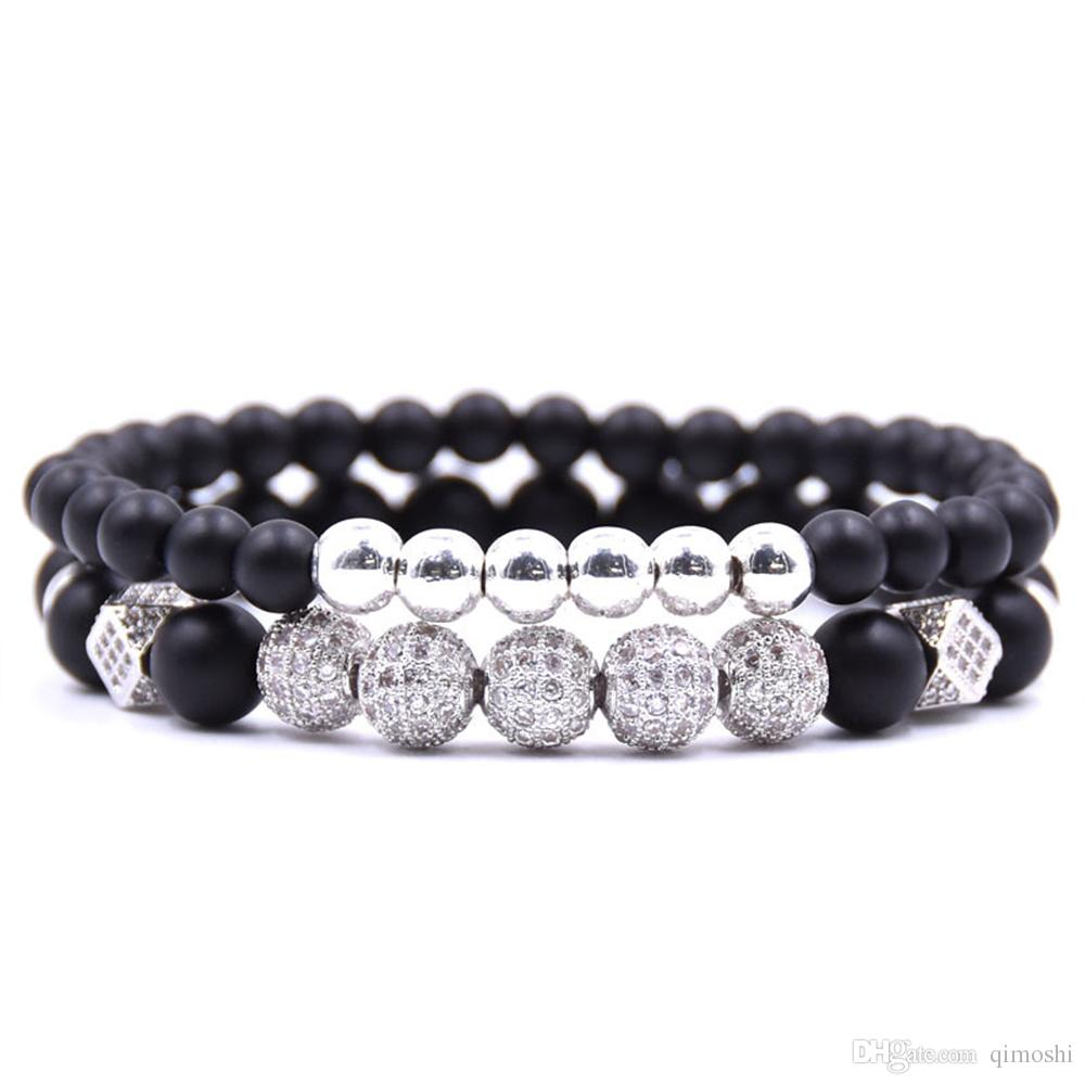 Zircon Bracelet Set Natural Energy Healing Stone Set Friendship He and Her Stainless Steel Strong Elastic Distance Couple Bracelet