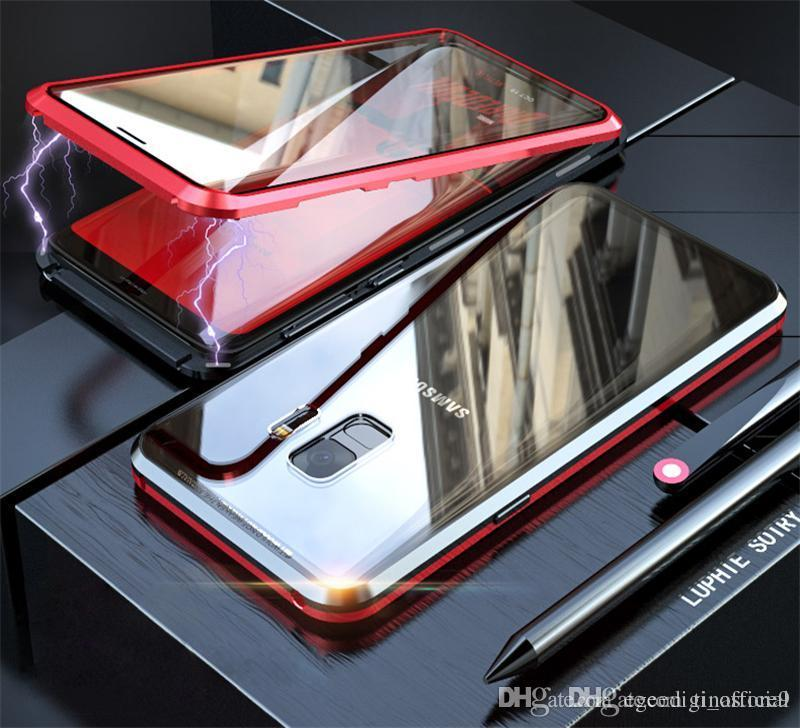 تينا الجبهة + الزجاج الخلفي المغناطيسي المعادن الغلاف الخلفي للحصول على 8 7 6S X XR إكسس ماكس زائد سامسونج S8 S9 S10 5G زائد S10E ملاحظة 9 القضية 8 الهاتف