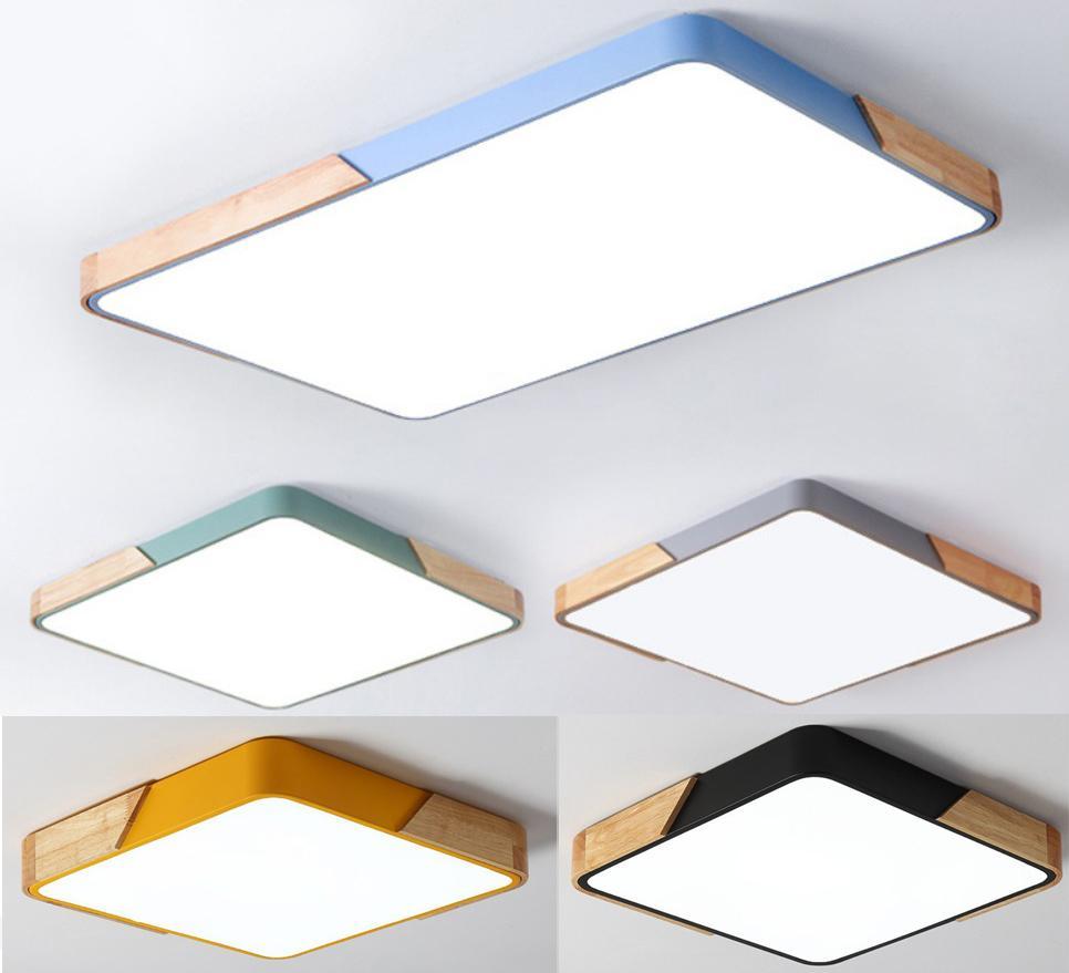 Nordic cuadrados llevó luces de techo macarrón color de la sala de madera de techo regulable rectángulo llevó la lámpara habitación de los niños Cuerpo de iluminación D27