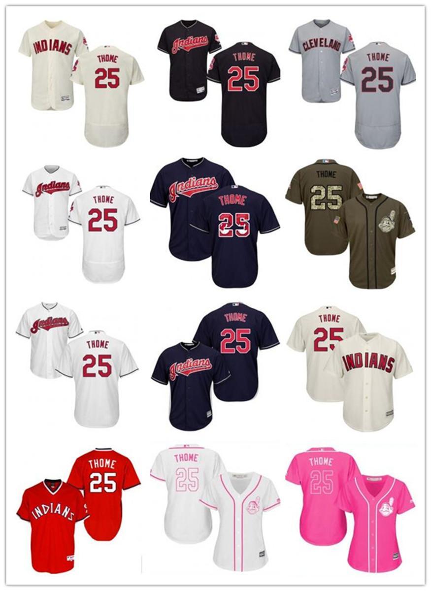 freies Schiff individuelle Cleveland Cleveland Indians 25 Jim Thome Baseball Jersey Indians Baseball Wear Männer Frauen Jugend Trikots