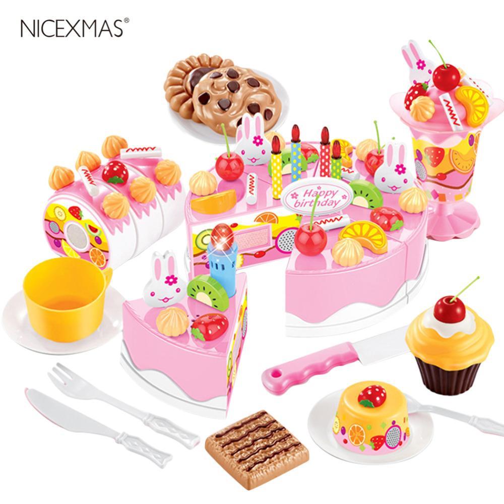 75 Unids DIY Niños Cocina Juguetes Pretenden Corte de Cumpleaños Pastel de Fruta Crema de Plástico Juego de Alimentos Juego de Té de la casa Juegos de Utensilios de Cocina