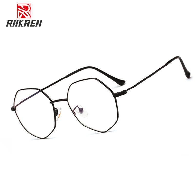 YT042 Fashion Vintage Retro Metal Frame Clear Lens Glasses Nerd Geek Eyewear Eyeglasses Black Oversized Round Circle Eye Glass T200428