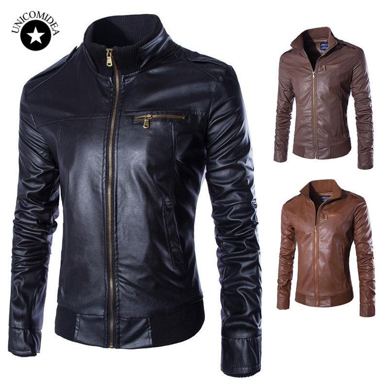 New Fashion Men's Leather Jacket Black Brown Stand Collar PU Coats Plus Size Casual Windbreak Biker Jackets Male Clothing