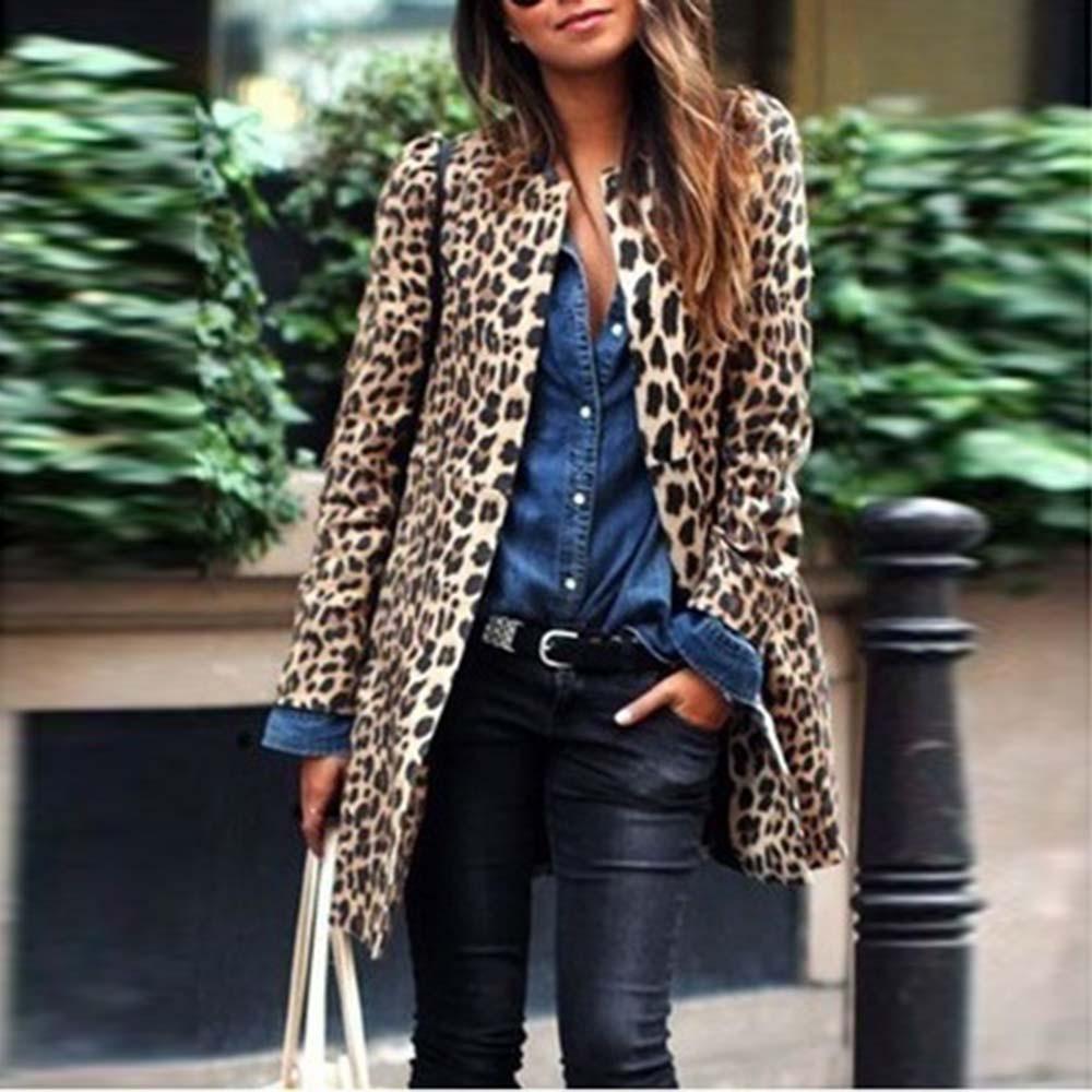 Womail Automne 2018 Hiver femmes manteau de veste Femme léopard sexy hiver chaud nouveau manteau Wind Gilet imprimé léopard long Oct24