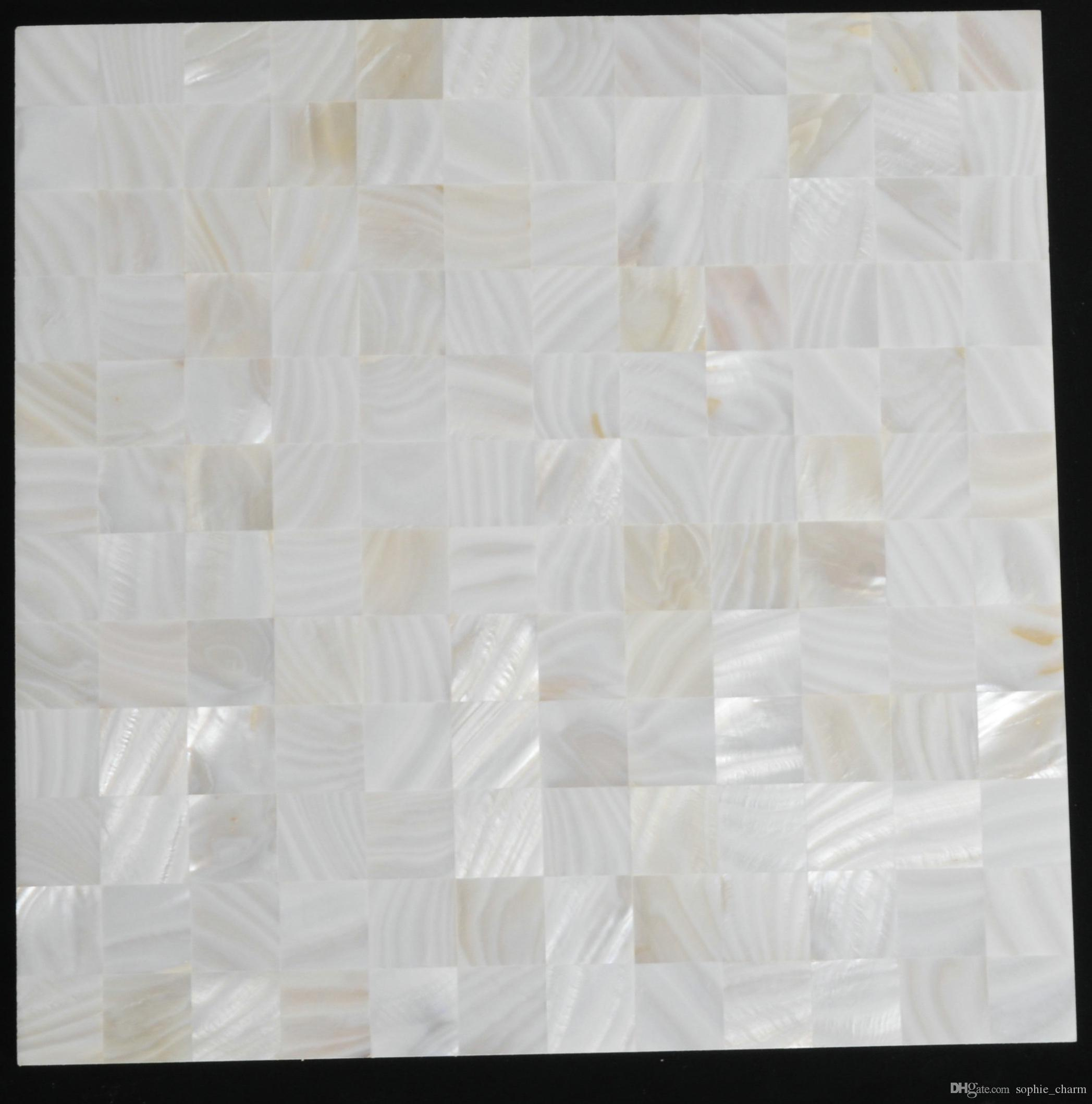 8mm thickness 1x1 inch white groutless Mother of pearl mosaic wall tile backsplash MOP082 sea shell mosaic bathroom wall flooring tile