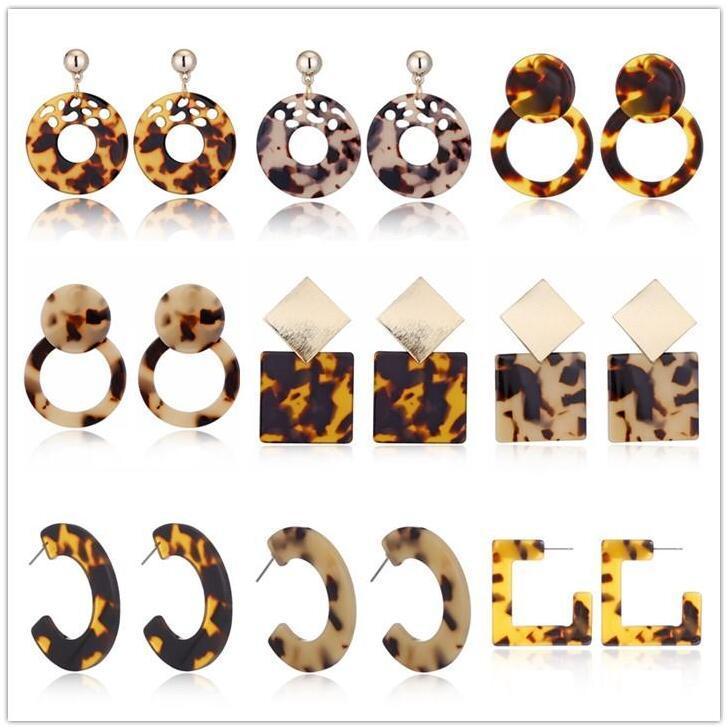 새로운 거북이 컬러 표범 인쇄 귀걸이 기하학적 원형 광장 긴 드롭 귀걸이 인쇄 아크릴 아세트산 시트 귀걸이 뜨거운