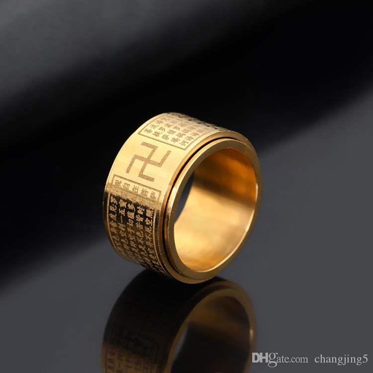 Vintage Budismo rotativos Encantamientos de acero inoxidable El Canal de corazón la gran misericordia del anillo de los hombres del anillo de la mano-Shaoyin Carácter