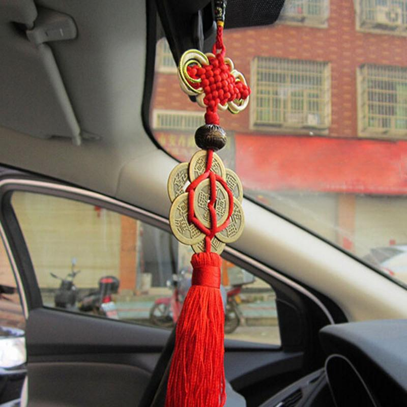 20 pcsFeng Shui Chinese Knot Tassel China Mascot Lucky Charm Ancient Coins Prosperity Protection Good Fortune Metal Car Decoration C19041201
