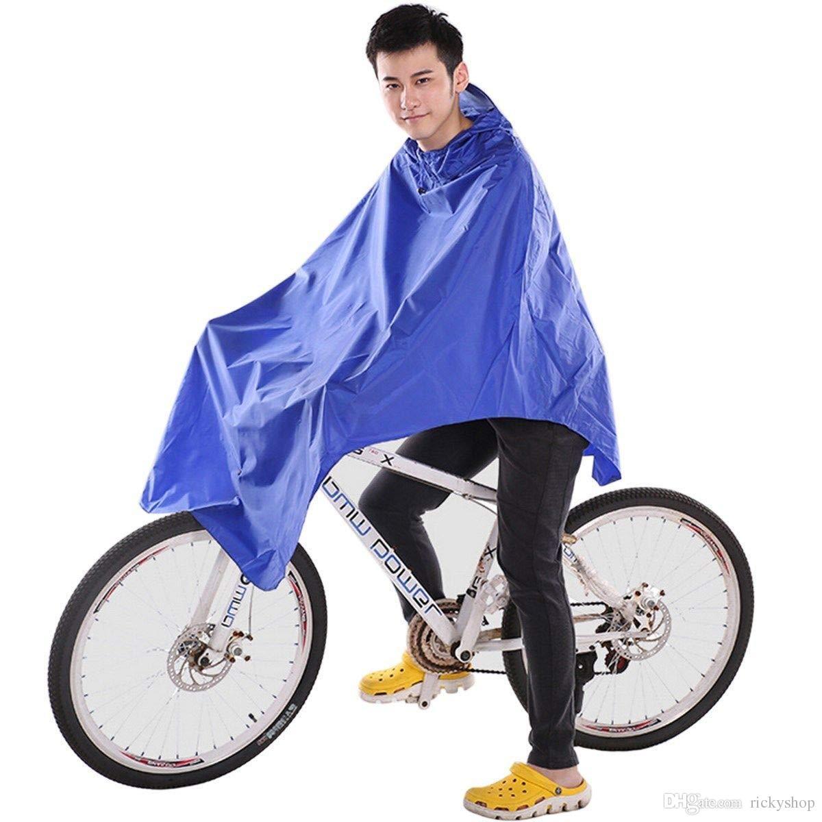 Ting Ao Cycling Bicycle Bike Raincoat Rain Cape Poncho Cloth Gear Rainproof Blue Comfort