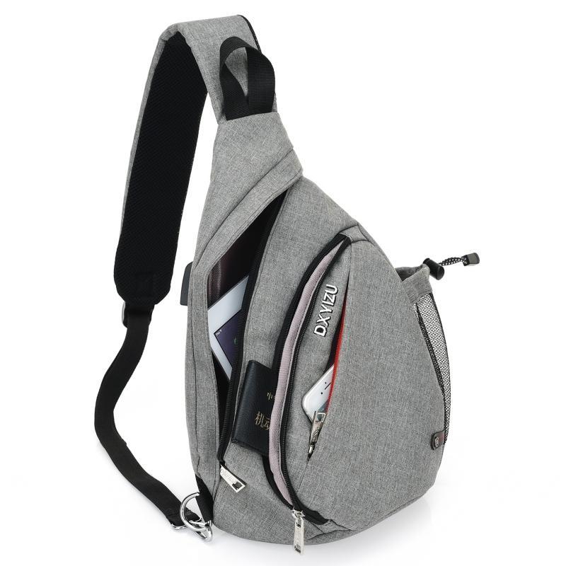 Uomini Donne Sling Busto Zaini ricarica USB Crossbody spalla adolescenti Boys School Bag Daypacks zaino per bicicletta Escursioni a piedi Sci Pantaloni
