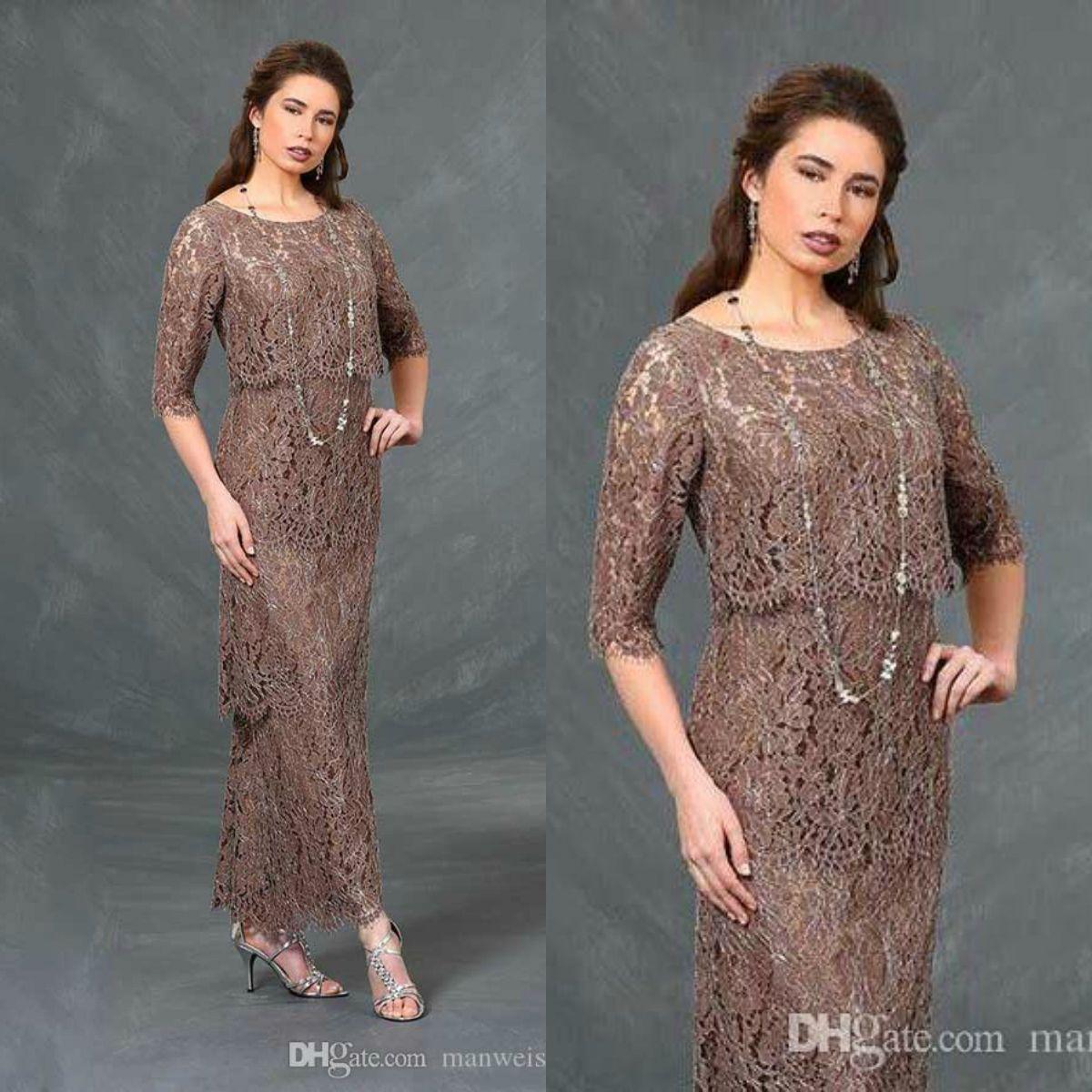 Gelin Elbiseler Ayak bileği uzunluğu düğün Misafir Elbise Tam Dantel Uzun Kadınlar Biçimsel Kıyafet 2020 Ursula Brown Anne